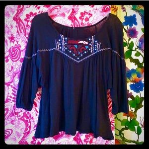 Free People Embroidered Boho Peasant Top